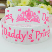 "DUWES 7/8"" 22mm Daddy's princess crown Printed grosgrain ribbon hairbow DIY handmade wholesale 50YD(China)"