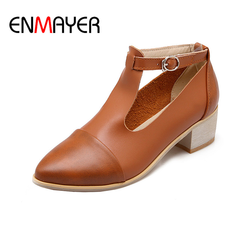 ENMAYER T-tied Ankle Strap Spring&amp;Antumn Shoes Woman Med Square Heels Pointed Toe Solid Pumps Chaussure Femme Casual Shoes<br>