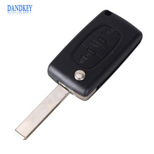 Dandkey New 3 Button Remote Flip Folding Key Shell Case For Peugeot 107 207 307 407 408 With car Symbol CE0523 With LOGO