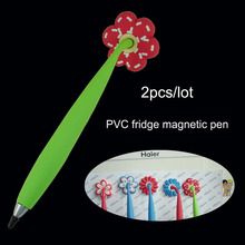 2pcs/lot Magnetic Fridge Pens soft PVC Ballpoint Pen Cute Cartoon Pens Novelty Design Fanny toy Pen for Kids as Children's Gifts(China)
