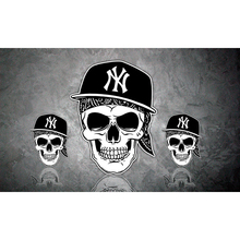 Top Design Cap Skull Yankees Flags 3ftx5ft 100D Polyester Hip Hop banners metal Grommets 90x150cm(China)