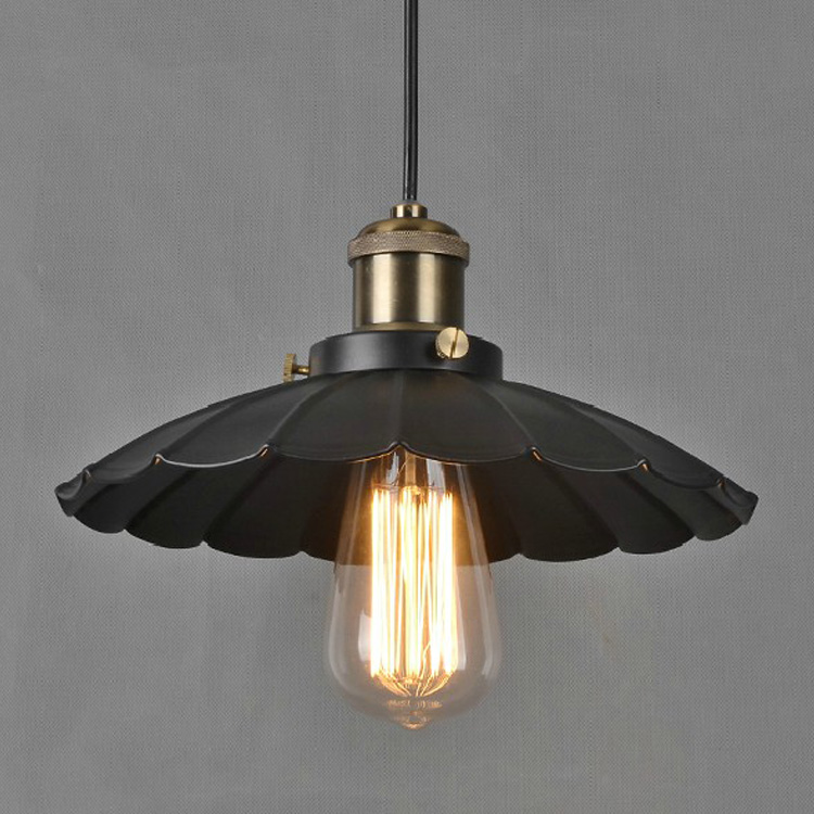 1pcs Vintage Style Industrial Light Loft Retro Nostalgia Lamp Cafe-bar LED Black Lotus Umbrella Lamp Pendant Light Drop Shipping<br>