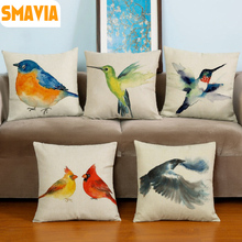 SMAVIA Hand Painted Brid Pattern Cushion Cover Decorative Chair Sofa Bed Cotton Line Pillow cover 17*17 inches Throws Pillowcase