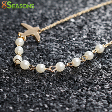 "8SEASONS Zinc Alloy Necklace Airplane White Imitation Pearl Gold/Silver Plated Color Acrylic Necklace 40cm(15 6/8""), 1 PC"