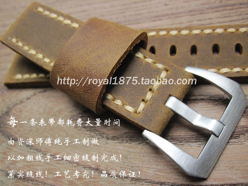 22mm New Soft Retro Brown High Quality Genuine Leather Watch Band for Fossil Strap Brushed Steel Clasp Buckle for Panerai Watch <br>