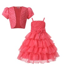Elegant formal Princess Girls pearl Dress For Wedding Flower Girl Dresses With  Jacket Baby Children Christmas Dress of Girl