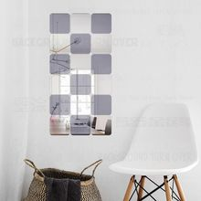 Square Decorative 3D Acrylic Mirror Wall Stickers Living Room Bedroom Bathroom Door Home Decor Room Decoration Mirror Tiles R177(China)