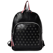 Best Deal Women Leather Backpacks for adolescent girls Rivet External Frame female backpack mochilas mujer 2017 school bag