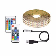 2835 SMD DC 5V USB LED strip light warm white RGB USB charger led light ribbon decor lamp 1M 2M 3M 4M 5M Remote control(China)