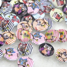 New 10/50/100pcs Mix owl Wood Buttons 15mm Sewing Craft Mix Lots WB240