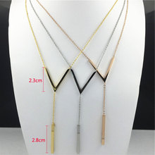 Buy FYSARA Love Jewelry Body Geometry V Pendant Necklace Collar Women Stainless Steel Gold-Color V Long Chain Necklace Bijoux for $5.94 in AliExpress store