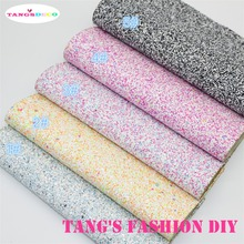 5PCS---High Quality DIY chunky fluo color mix color glitter PU leathers/Synthetic leather/DIY fabric 20x22cm per pcs CAN CHOOSE