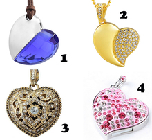 Heart Shaped Necklace USB 2.0 Flash Drive 64GB Pen Drive 32GB 16GB 8GB USB Flash Thumb Drives Jump Drives For Girls Gift Trinket