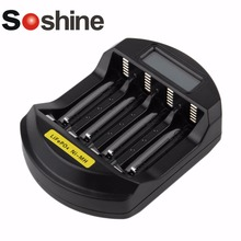 Soshine C5 LiFePO4 14500 10440 Ni-Mh AA AAA LCD Digital Intelligent Charger 110-240V 4 slots Battery Fast Quick charger EU US