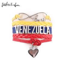 Buy Little MingLou Infinity love venezuela Bracelet heart charm wrap men bracelets & bangles women country hometown cheer gift for $1.30 in AliExpress store