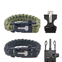 EDC Outdoor Survival Kits Lifesaving bracelet bangle Whistle Firemaker Magnesium Rod