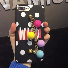 Banjolu New Wild Dots Golden Iron Ring Phone Case for iPhone 7 8 plus 6 6s Plus Colorful Ball Strap Grip for iPhone 7 Case Cover
