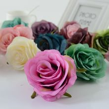 1pcs Artificial flower roses head for home Wedding car decoration new Year christmas Decorative flower Bride bouquet accessories(China)