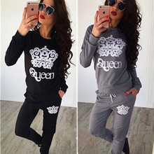 Women Winter Two Pieces Set Queen Crown Printed Tracksuits long Sleeve Bodycon Jumpsuit