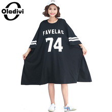 Buy Oladivi Brand Oversized Dress Plus Size Women Clothing Fashion Ladies Print Casual Loose Summer Dresses Long Tunic 2018 Vestidos for $22.24 in AliExpress store