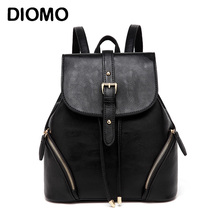 DIOMO Fashion Backpack Women High Quality PU Leather Backpacks For Teenage Girls Pink / Black Bagpack Travel Bags(China)