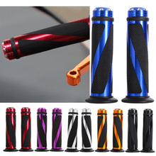 "Hot Sale 1 Pair 7/8"" Universal Motorcycle Sports Bikes Aluminum Handlebar Rubber Hand Grip Motorcycle Grips 5 Colors Car-styling"