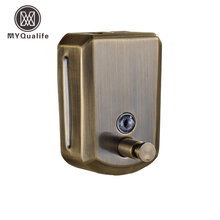 Free Shipping Wholesale And Retail Wall Mounted Antique Bronze 800ml Bathroom Liquid Soap Dispenser Liquid Soap Box(China)