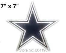 "7"" LARGE Cool Cowboys Cow boy Star Logo Embroidered IRON ON/ SEW ON Cool Football Vest Patch sports Badge Free shipping"