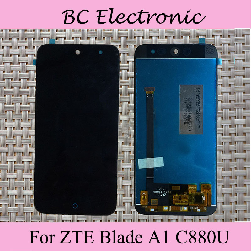 2pcs/lot Black LCD For ZTE Blade A1 C880U C880D LCD Display with Touch Screen Digitizer Smartphone Replacement + Free shipping<br><br>Aliexpress