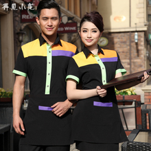 Hotel catering shirt short sleeve Restaurant hot pot shop waiter uniform sets summer tri-color stitching workwear Top+Apron Set(China)