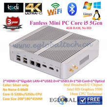 Best Fanless Mini PC Windows10 Intel Nuc Core i5 5257u Iris 6100 4GB RAM NO HD Blue Ray 4K Nettop HTPC TV Box Kodi Mini Computer(China)