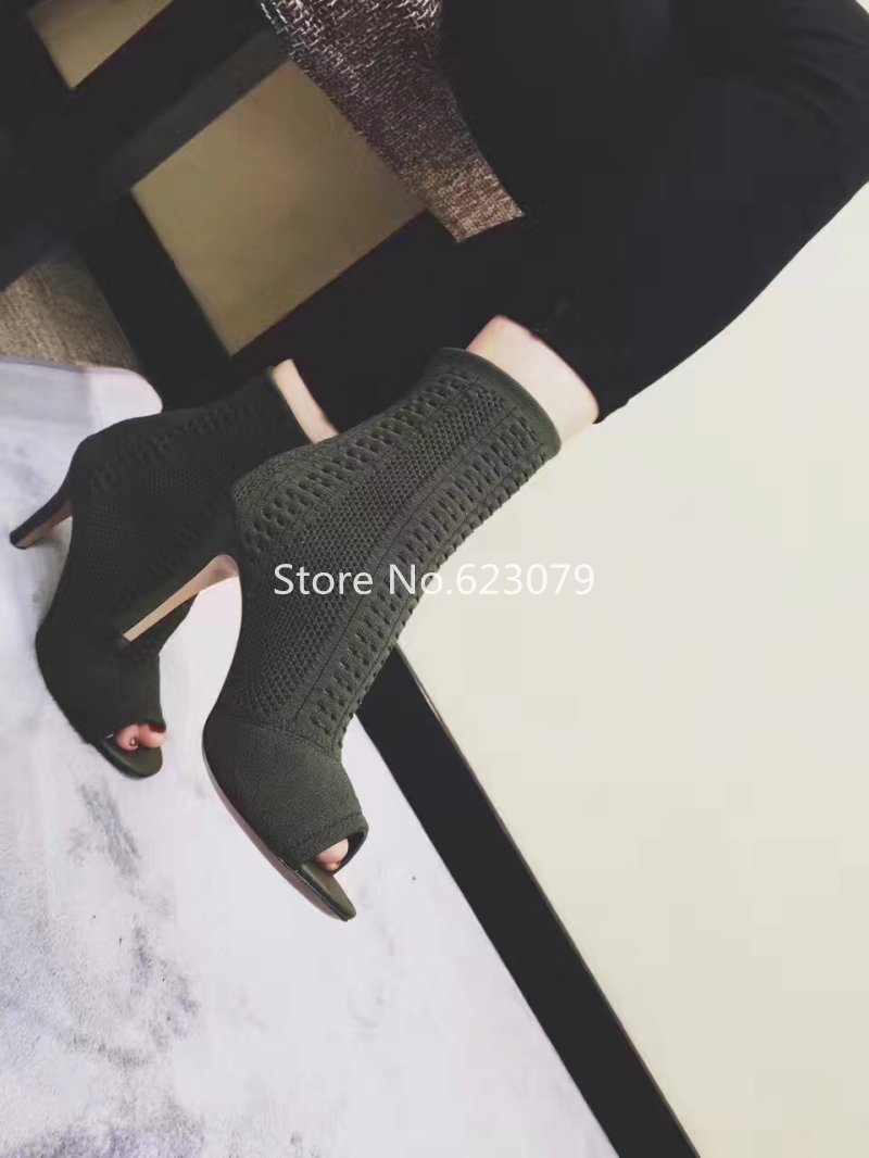 2016SS fall Paris knitted ankle boots high-heeled cut-outs and a round-toe stretch fabric leggy boots green black slim leg boots<br><br>Aliexpress