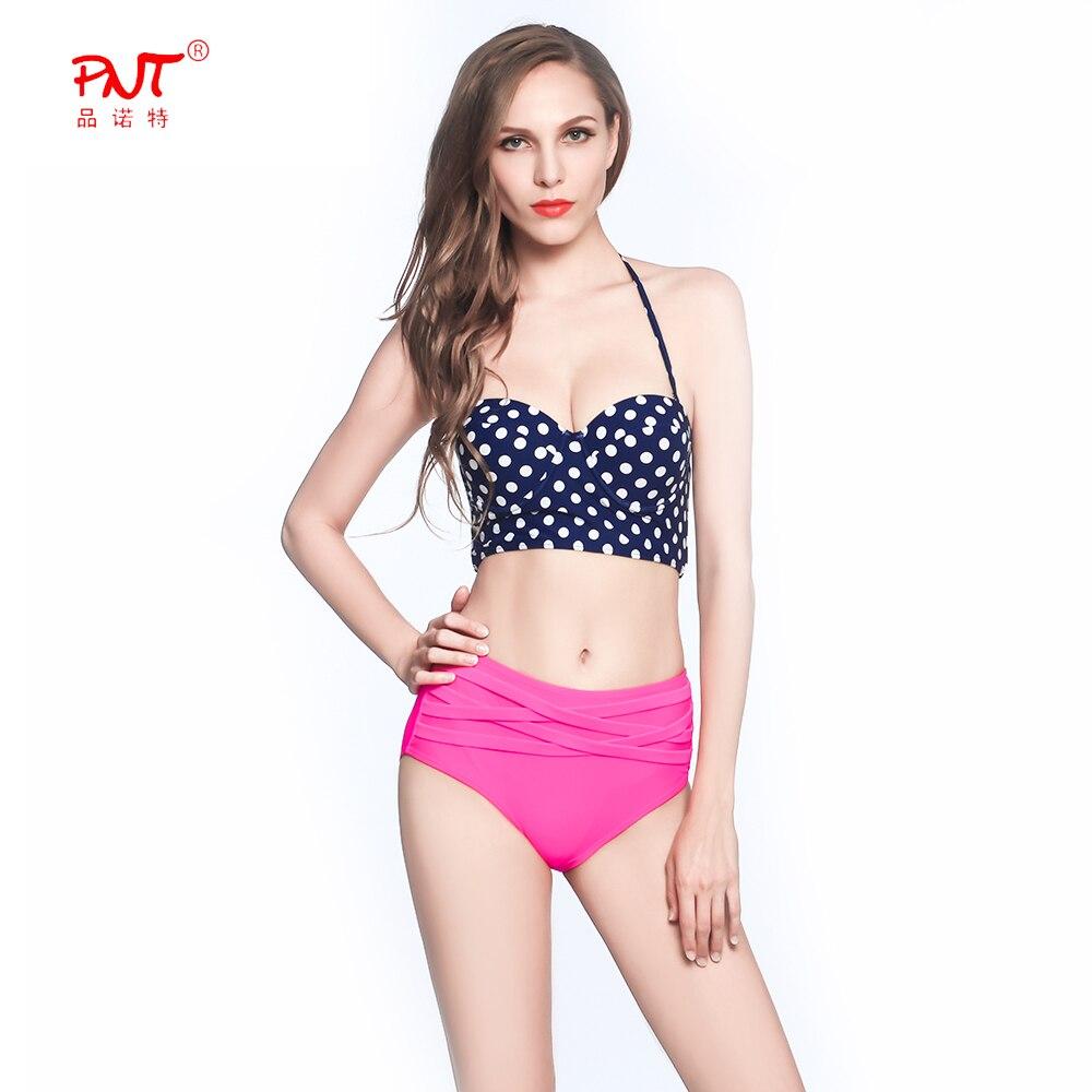PNT100 2017 Womens Swimwear High Waist Sexy Bikini Keep Out The Abdomen Swimsuit Navy White Dots Bandage Bandeau String Biquinis<br><br>Aliexpress