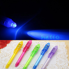 Magic 2 In 1 Invisible Ink Pen UV Black Light Combination Creative Stationery Most Popular Red And Purple(China)