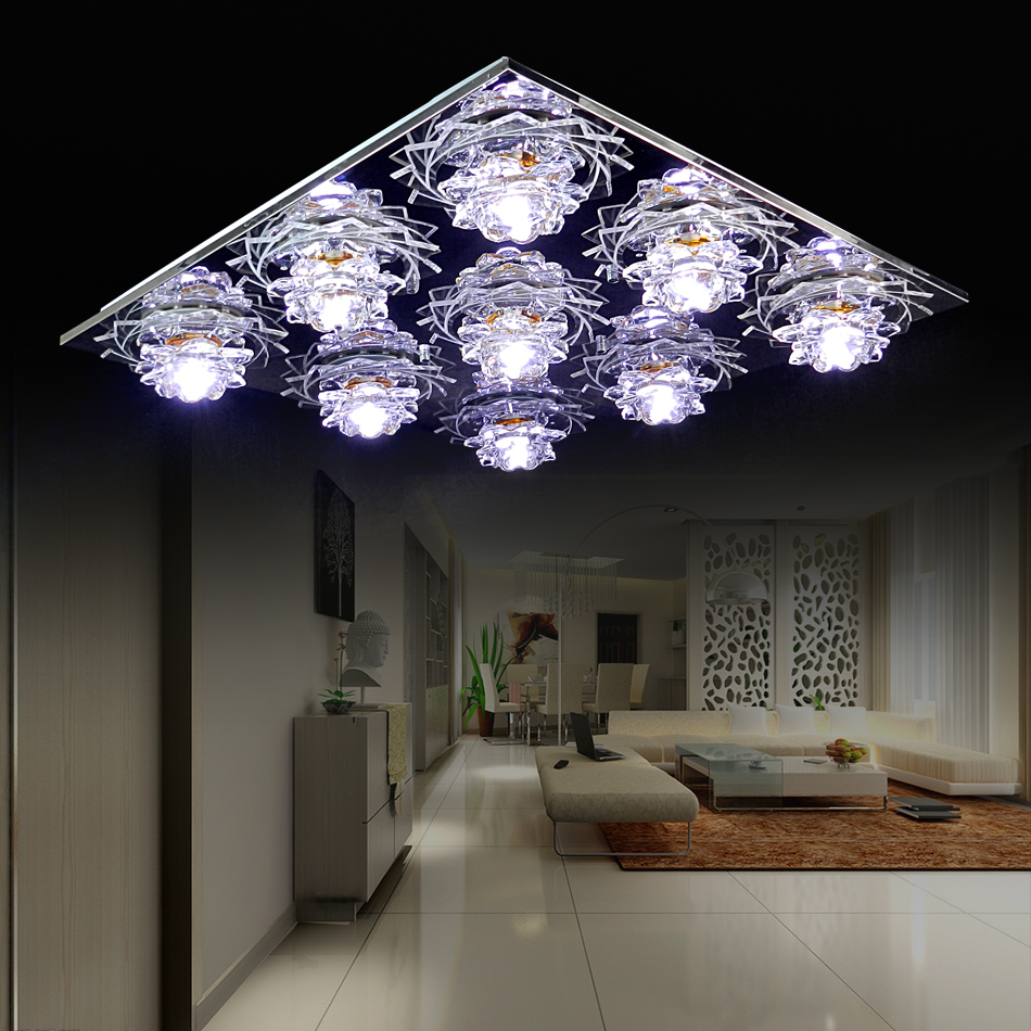Modern coloful crystal Led ceiling light rectangular base living room bedroom small living room lamps<br><br>Aliexpress