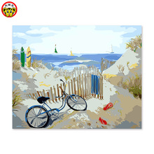 His description of regional color painting color acrylic color pictures of digital painting beach bike fence(China)