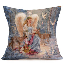 4PCS Cute Christmas Linen Zipper Pillow Cases Cushion Angel little deer baby pillow for coffee shop book store 18x18 Inch(China)