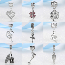 2017 Silver Beads Angel Dancer Love Clover Crown Pendant Charm Fit Pandora Women Bracelets Bangles Necklace DIY Jewelry Making(China)