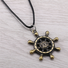 J Store Anime Souvenir One Piece Rudder Compass Symbol Bronze Alloy Choker Necklaces for Women Men Jewelry collier JJ11562