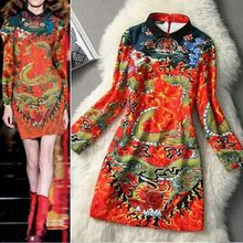 Free Shipping Newest Runway Show Novelty Dress Women's Fashion  Vintage Chinese style cheongsam Dress -5