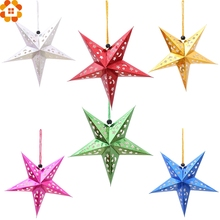 1PC 30cm DIY Paper Stars Garland Star Decoration Christmas Ornaments Wedding/Birthday/Christmas Party Decoration Supplies(China)
