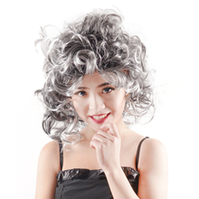Newly fashion wavy wig gray fiber synthetic hair shoulder lenth Halloween Carnival Day carnival wigs