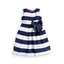 Baby Kid Girls One Piece Dress Blue White Striped Bow Summer Tutu Dress New
