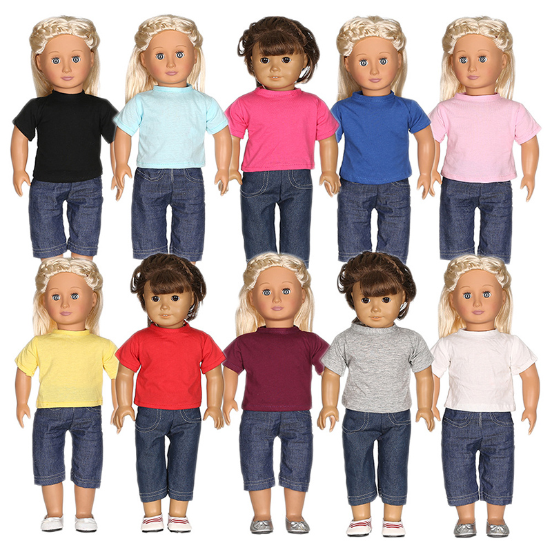 10 Sets American Girl Doll Clothes Solid Summer T-shirt Tops+ Pants Jeans Pure likelife Outfits For 18inch 43cm Accessoires <br>