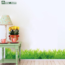 Green Grass Baseboard Skirt Stickers Vase Window Window Living Room Cabinets Home Background Decorative Wall Stickers