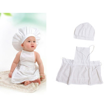 Cute Baby White Cook Costume Photo Photography Prop Newborn Infant Hat Apron Chef Clothes DIY Funning Booth Props for Kids