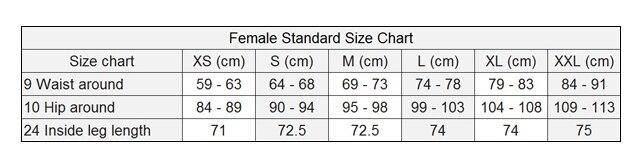 legging Size female a