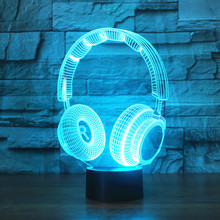 Best Gift 3D DJ Headphone Illusion Light Studio Music Monitor Headset Coloful hifi music Earphone LED Lamp In Bedroom Decoration