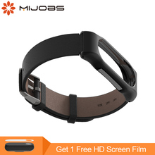 Buy Mijobs Genuine Leather Strap Xiaomi Mi Band 2 Smart Watch Screwless Bracelet mi band 2 Strap Miband 2 Strap Screwless Wrist for $6.99 in AliExpress store