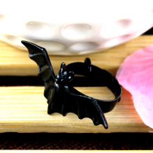 New DIY women Jewelry European and American black bat personality adjustable ring animal ring party decoration(China)